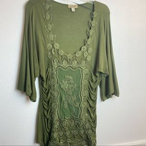 One Workd Army Green lace knit Top